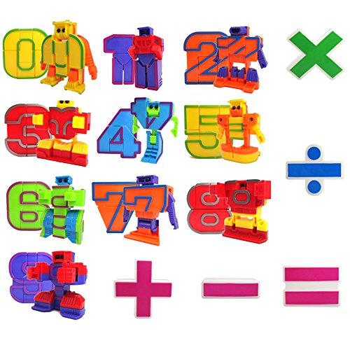 Mymiyou Numero di giocattoli del giocattolo di azione di figura dei robot per i bambini Educazione dell\'infanzia precoce 15 parti