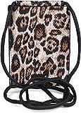 styleBREAKER Bolsa de hombro para mujeres para teléfonos móviles con estampado de leopardo, bolsa de hombro, bolsa de transporte para teléfonos móviles, mini-bolso 02012318, color:Beige-Marrón-Negro