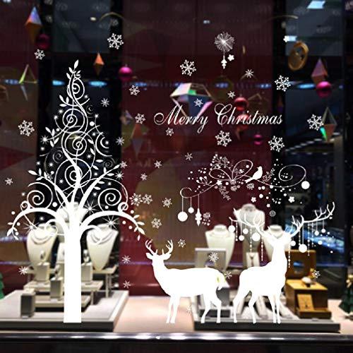heekpek Weihnachten Aufkleber Fenster Dekoration Weißer großer Elch Fensteraufkleber Schneeflocke Fensterbild PVC Entfernbarer Elektrostatischer Aufkleber Weihnachtssticker Weißer doppelschichtiger