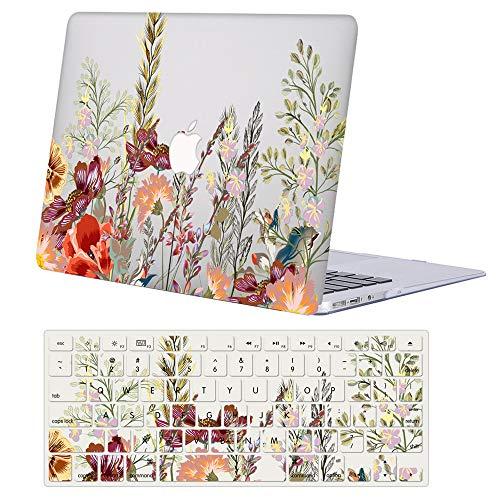 AJYX Custodia MacBook Air 13 Pollici 2020 2019 2018 (Modello: A2179 A1932), Plastica Dura Case Cover Rigida Copertina con Copertura della Tastiera per MacBook Air 13.3 Touch ID - Floreale