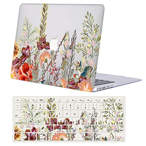 AJYX MacBook Air 13 Inch Case A1466 / A1369 Older Version 2010-2017 Release, Plastic Pattern Hard Shell Case Cover with Keyboard Cover for Laptop Mac Air 13.3,Floral