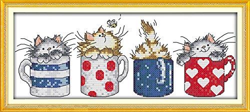 Joy Sunday Kits de punto de cruz Patrones fáciles de estampar de 11CT Bordado Punto de cruz-Gatos Ocultar en las copas 14.6 '' × 6.7 ''