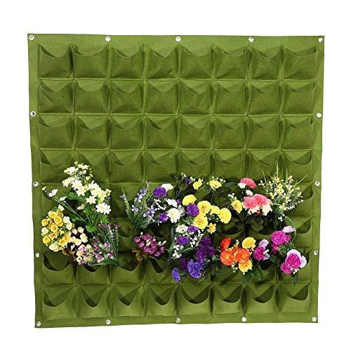 Ducomi Wandbegrünung – Vase zur Wandaufhängung zur Dekoration – für Pflanzen, modulares Design, für die Wand – außen und innen – Säule für Blumen zum Aufhängen an der Wand 64 Tasche grün
