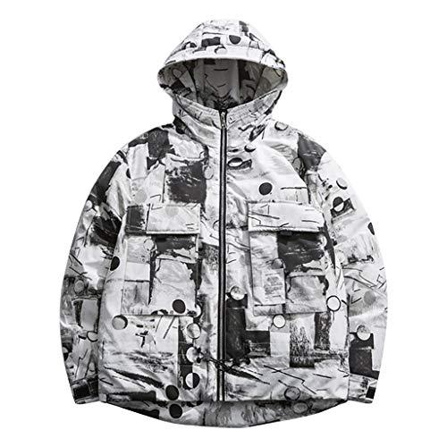 JiaMeng-ZI Ropa de Moda Patchwork Multi-Bolsillo Abrigo de Manga Larga Espesar Fabric Cálido y Cómodo Chaqueta Otoño Invierno Casual Sudaderas con Capucha Resistente al Desgaste Jacket Coat