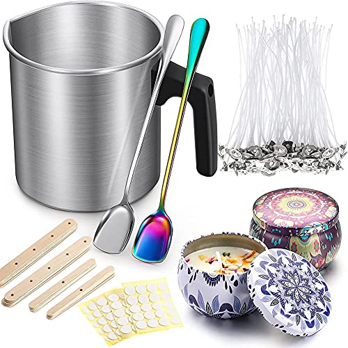 Varadyle 225 Pieces Candle Making Kit,Candle Making Pouring Pot for DIY Candles Making,Long Handle Spoon,Candle Wicks