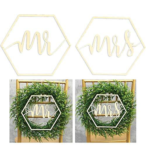 Outgeek 2 UNIDS Mr and Mrs Wedding Chair Sign Madera Decorativa Wedding Sign Wedding Chair Decor Scripted Carta de Madera Signo Decoración