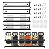 Spice Rack Organizer For Pantry -Kitchen Cabinet Door Organization And Storage - Set of 4 Tiered Hanging Shelf for Spice Jars and Seasonings - Door Mount, Wall Mounted, Under Sink Shelves