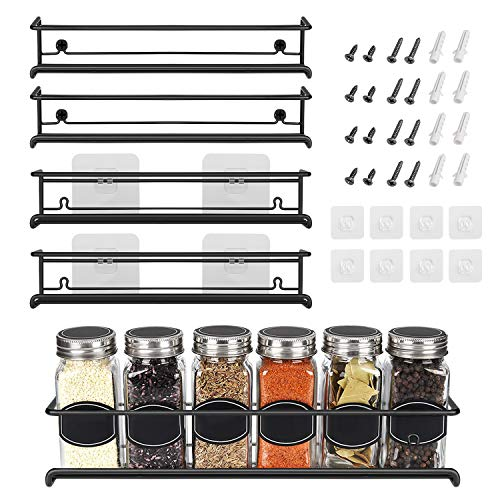 Spice Rack Organizer For Pantry -Kitchen Cabinet Door Organization And Storage - Set of 4 Tiered Hanging Shelf for Spice Jars and Seasonings - Door Mount Wall Mounted Under Sink Shelves