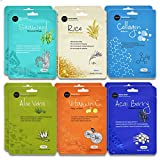 Celavi Essence Facial Face Mask Paper Sheet Korea Skin Care Moisturizing 12 Pack (Mix - 2 of Each) (Anti-aging)