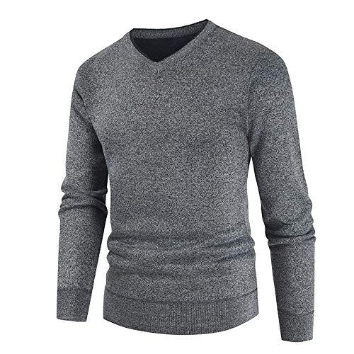 Suter con Cuello en V para Hombre, Jersey elstico Ajustado, clido, Color slido, clsico, bsico, Informal, suter 3X-Large