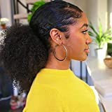 YITI Afro Kinky Curly Drawstring Ponytails for Black Women Extended Contact Pull Rope Card Masson Hair Piece for African American Girls Curly Drawstring Ponytail Extension for Women(Black) (1B#)