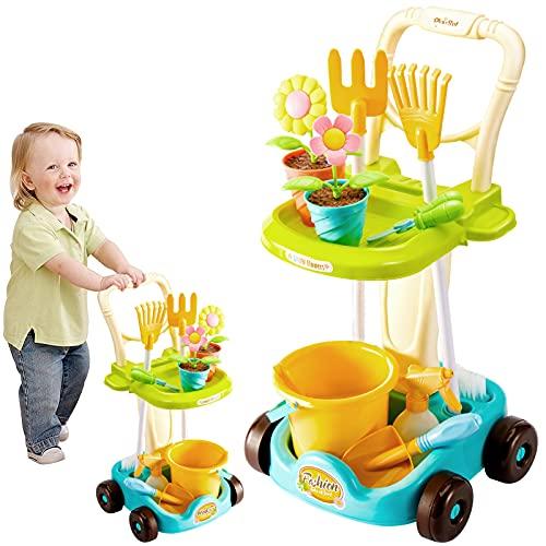 LINFUN KIDS Carrello Attrezzi Giardinaggio Bambini Giocattolo Giochi da Giardino Fiori Giocattolo Giochi d'imitazione per Bambini Bambina 3 4 5 Anni