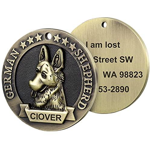 TagME Personalizado Placas Para Perros, Placas de Identificación Para Perros Grabada de Efecto 3D Para Perros Medianos Grandes, 1 Paquete, Pastor Alemán