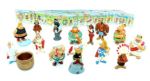 Kinder Überraschung, Alle 14 Figuren von Asterix und Obelix in Amerika und alle 4 Beipackzettel