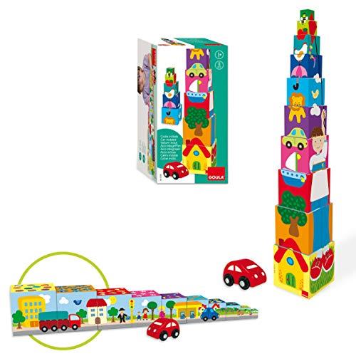 Goula- Pile-Up Car Puzzle Cubos apilables Coche, Multicolor, 12m+ (Diset 55202)