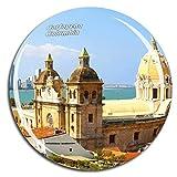 Weekino Ciudad amurallada de Cartagena Colombia Imán de Nevera Cristal de Cristal 3D Ciudad turística Recuerdo de Viajes Colección Regalo Fuerte Etiqueta engomada del refrigerador