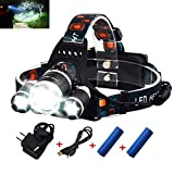 Rechargeable Headlamp, Bright Waterproof LED Headlight Flashlight Torch with...