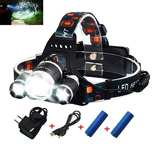 Rechargeable Headlamp, Bright Waterproof LED Headlight Flashlight Torch with 3×T6 Lampwick for Reading Outdoor Running Camping Fishing Walking Hunting Hiking (Black)