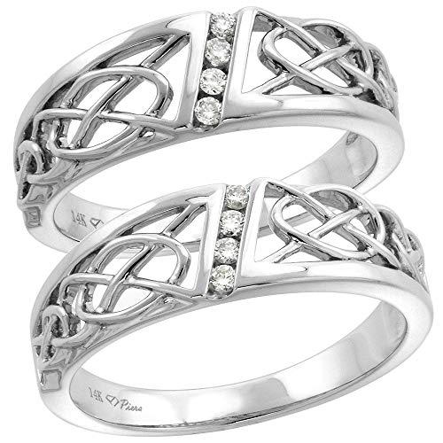 14k White Gold Diamond His & Hers Celtic Knot Wedding Band Set 2 Piece, L 5-10 M 8-14, Ladies size 5