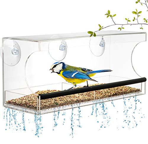 Window BIRD FEEDER Extra Strong Suction Cups Removable Seed Tray with Drainage Holes to keep seeds dry 3 Extra suction cups Acrylic Clear Design to Enjoy Bird Watching in the Comfort of your Home