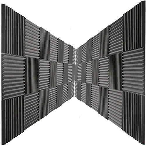 Mybecca 24 Pack Acoustic Foam Panels 2 X 12 X 12 Studio Soundproofing Wedges (24 Square Feet), Charcoal