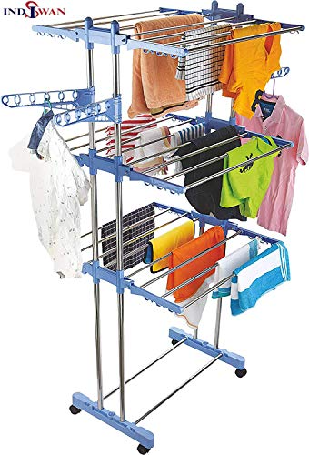INDISWAN™ Stainless Steel Double Pole 3 Layer Cloth Drying Stand