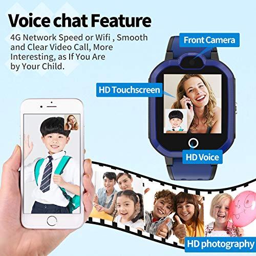 4G Wasserdicht Kinder Smartwatch Telefon, Handy Uhr für Kids, mit Anti-verlorener GPS WiFi LBS Ortung Tracker, Videoanruf, Rufen, SOS, Voice Chat, Pedometer, für Mädchen oder Jungen (Blau)