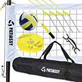 Patiassy Portable Outdoor Volleyball Net with Poles and Winch System for Backyard Beach Professional Volleyball Set with Volleyball and Carrying Bag