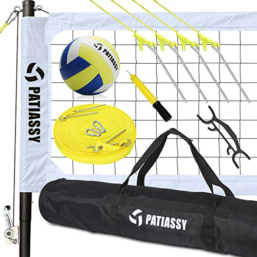 Patiassy Professional Portable Volleyball Sets for Backyards, Beach, Outdoor - Volleyball Net and Ball Set System with Winch System for Anti Sag Net + Adjustable Poles, White