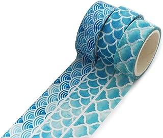 Doitsa 3pcs Rollo de Cinta de enmascarar Adhesiva de 5m de Largo, Decorativas Washi Tape de Papel Fournitures scolaires Estudiantes Masking Tape Recortes, Azul océano