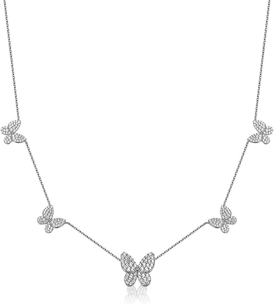 SUNXN Butterfly Attention brand Necklace Dainty 18K Gold Cubic Zirconia Butterfl Sale price