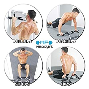 Happy Fit Total Upper Body Workout Bar - Exercise Equipment - Pull Up Bar - Strength Training Equipment - Multi-Grip Chin Up Bar - Gym Equipment for Home - Portable Bodygym - Home Workouts