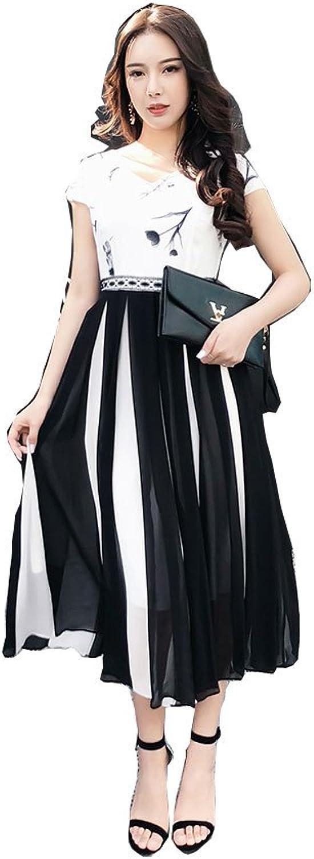 CG Chris Gelinas France CG Women's V Neck Short Sleeve Printed Waist Splicing Pleated Long Skirt Summer 855C098