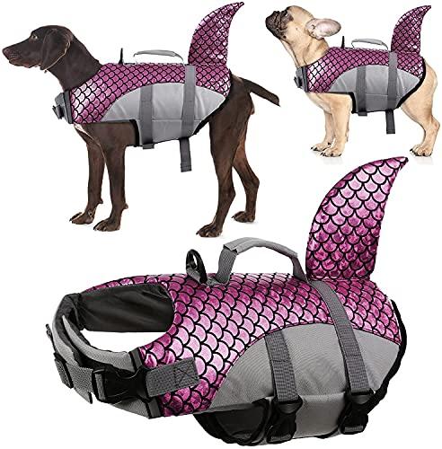 Aoblok Hundeschwimmweste, Hohe Schwimmfähigkeit Haifisch-Form Hunde-Badeanzug, Dog Vest Lifejacket Größenverstellbar für Wassersicherheit am Strand, Pool, Bootfahren (Rose, S)