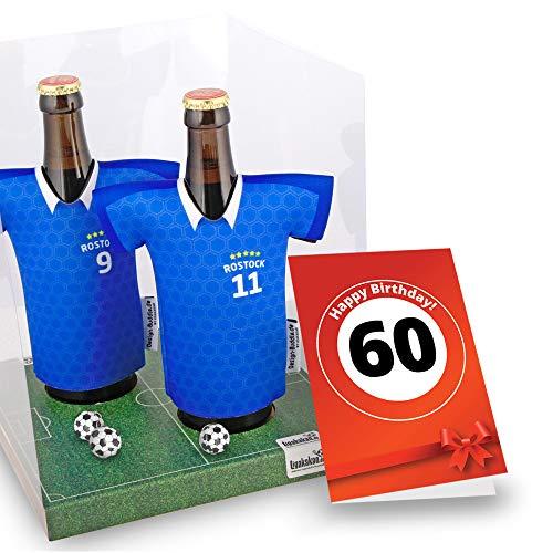 60. Geburtstag | Der Trikotkühler | Das Männergeschenk für Hansa Rostock-Fans | Langlebige Geschenkidee Ehe-Mann Freund Vater Geburtstag | Bier-Flaschenkühler by Ligakakao