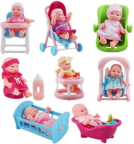 deAO Spielset mit 8 Mini Babypuppen, inklusive passendem Zubehör wie zum Beispiel, einen Spielzeug Kinderwagen, Einer Badewanne und vieles mehr