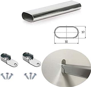 MKGT® - Organizador de armario con riel ovalado de cromo pulido, con tubo de metal para colgar, cortado a medida + soportes finales y tornillos.