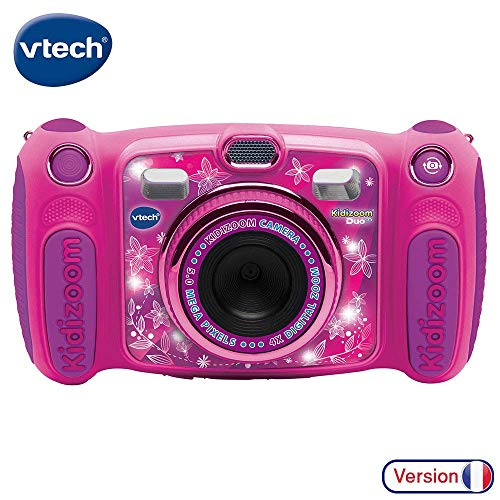 Vtech Kidizoom Duo 5.0 Digitale Kamera für Kinder, 5 MP, Farbdisplay, 2 Objektive, Pink Französische Version Rosa