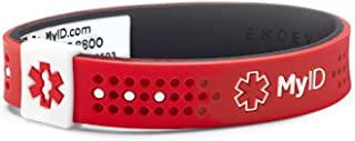 myID Sport Medical ID Bracelet Red/Black MD - Free Medical Profile To Store Medical Information - Lightweight Silicone Material - Great for Those with Diabetes, Autism, Etc - Fits Kids & Adults