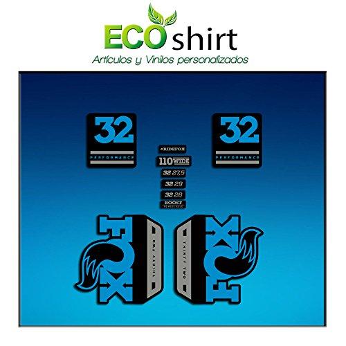 Ecoshirt HI-8YJT-KTL5 Pegatinas Stickers Fork Fox 32 Performance Elite 2017 Am90 Aufkleber Decals Autocollants Adesivi Forcela Gabel Fourche, Azul Gris