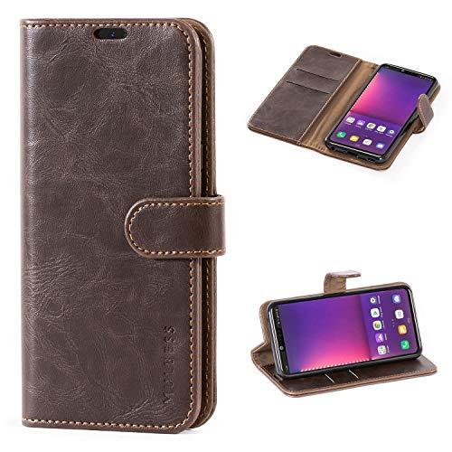 Mulbess Handyhülle für LG G8 ThinQ Hülle Leder, LG G8 ThinQ Handy Hüllen, Vintage Flip Handytasche Schutzhülle für LG G8 ThinQ Hülle, Kaffee Braun