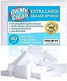 (40 Pack) Extra Large Eraser Sponge - Extra Thick, Long Lasting, Premium Melamine Sponges in Bulk - Multi Surface Power Scrubber Foam Cleaning Pads - Bathtub, Floor, Baseboard, Bathroom, Wall Cleaner