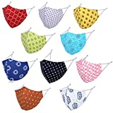 DFR Reversible Cotton Reuseable Face Mask (Multicolor, Without Valve, Pack of 5) For Men & Women - Double Side Rajasthani Sanganeri Print - 3 Layers of Cloth With Adjustable Elastic
