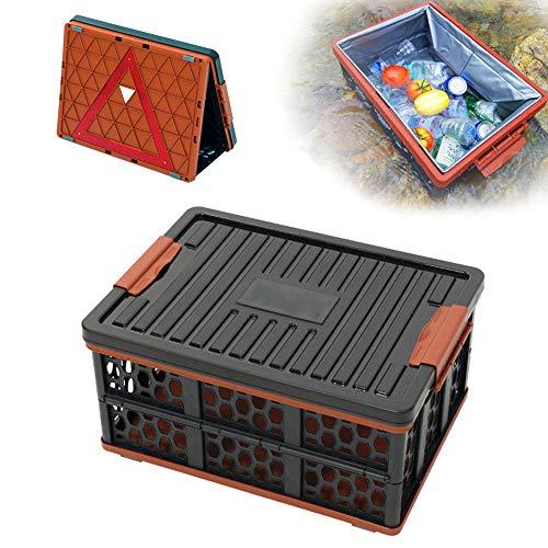 ZJY 28L Faltbarer Kofferraum-Organizer, Aufbewahrungsbox, Warndreieck-Kit für die Straßenverkehrssicherheit - mit Kühler - Perfekt für die Reise und das Camp von SUV-Familienautos