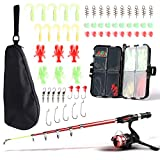 Light Weight Fishing Rod and Reel Combo Full Kit, 1.3M/4.3FT Kid Telescopic Fishing Rod with Spinning Reel Fishing Lure Kit for Kids Youth Beginner Travel Freshwater Bass Trout Fishing