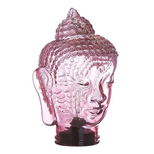 Lámpara de mesa led de cristal con forma de buda a pilas exótica rosa, de ø 19x30...