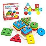 Hubery Juguetes para niños Montessori 12-36 Meses Regalos de cumpleaños 2-4 años Juguetes educativos de Madera Niños y niñas Clasificador de Formas Juguetes