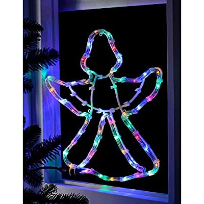 garden mile Large Pre-Lit Christmas Rope Lights Silhouette LED Lights Waterproof Indoor/Outdoor Christmas Decoration Festive Lighting Xmas Home Decor (Angel)