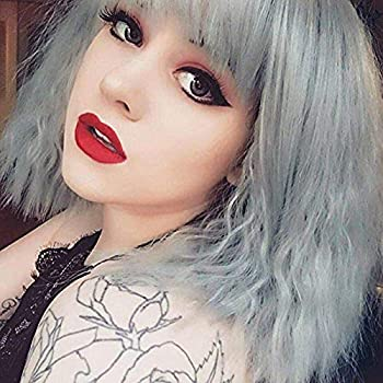 eNilecor Short Fluffy Bob Kinky Straight Hair Wigs with Bangs Synthetic Heat Resistant Women Fashion Hairstyles Custom Cosplay Party Wigs + Wig Cap  Grey