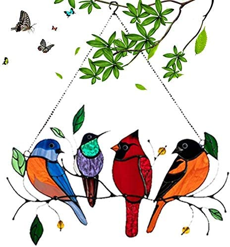 Save money Multicolor Birds on a Wire Window Suncatcher Stained Glass Online limited product High